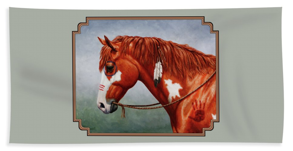 Horse Bath Towel featuring the painting Native American War Horse by Crista Forest