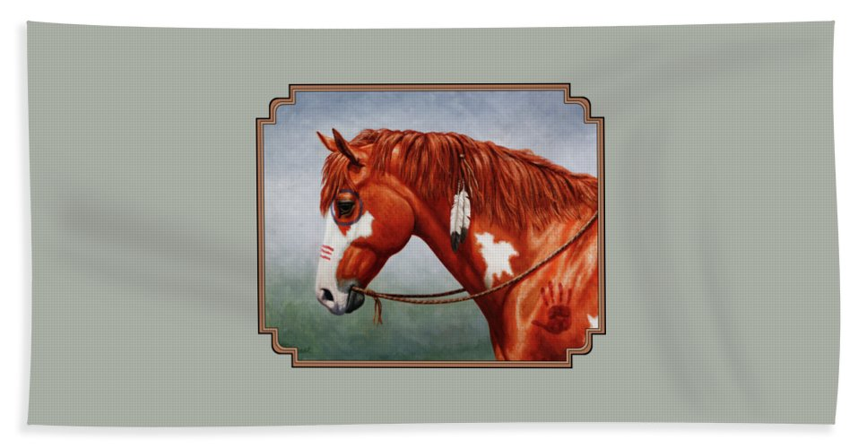 Horse Hand Towel featuring the painting Native American War Horse by Crista Forest