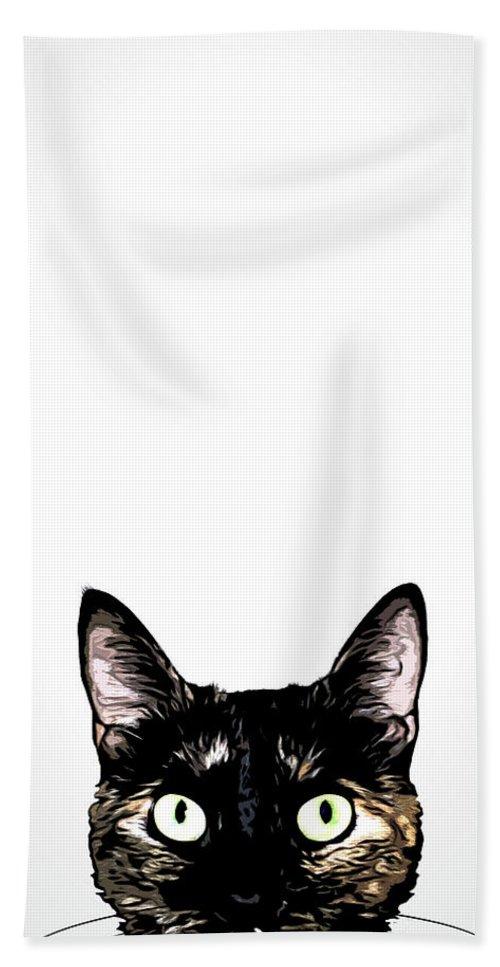 Cat Bath Towel featuring the mixed media Peeking Cat by Nicklas Gustafsson
