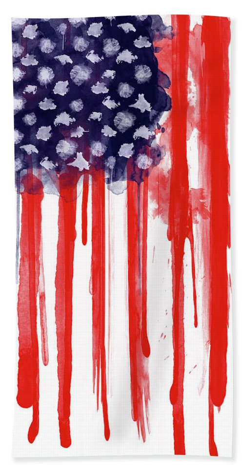 America Bath Towel featuring the painting American Spatter Flag by Nicklas Gustafsson