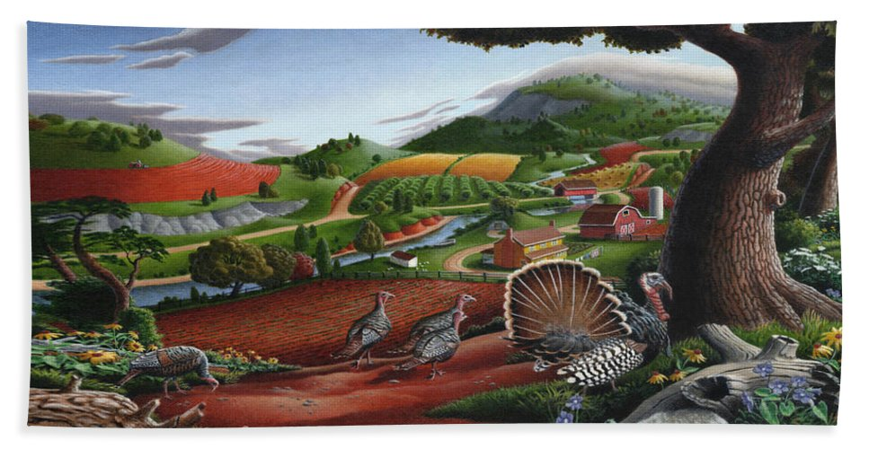 Wild Turkey Hand Towel featuring the painting Wild Turkeys Appalachian Thanksgiving Landscape - Childhood Memories - Country Life - Americana by Walt Curlee