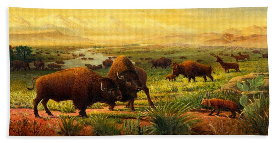 Buffalo Hand Towel featuring the painting Buffalo Fox Great Plains Western Landscape Oil Painting - Bison - Americana - Historic - Walt Curlee by Walt Curlee