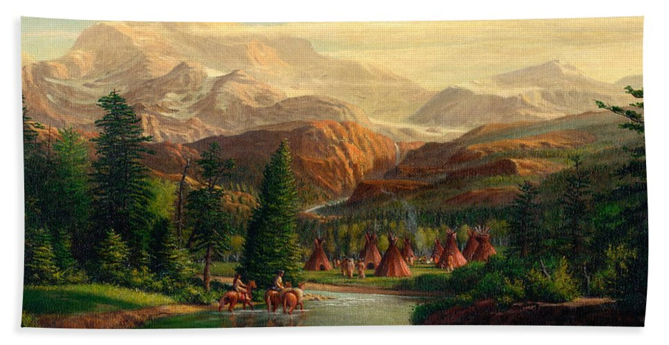 Indian Village Hand Towel featuring the painting Indian Village Trapper Western Mountain Landscape Oil Painting - Native Americans Americana Stream by Walt Curlee