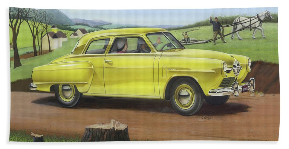 1950 Hand Towel featuring the painting Studebaker Champion Antique Americana Nostagic Rustic Rural Farm Country Auto Car Painting by Walt Curlee