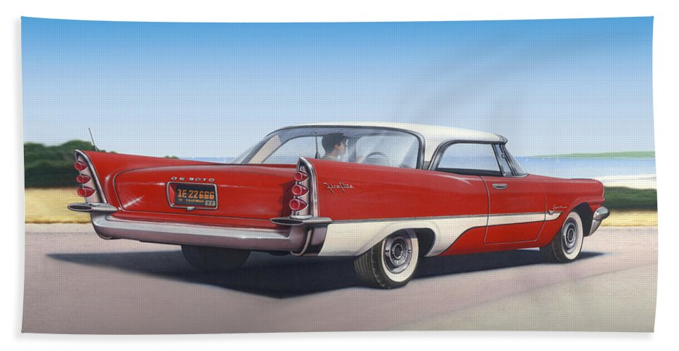 Car Hand Towel featuring the painting 1957 De Soto Car Nostalgic Rustic Americana Antique Car Painting Red by Walt Curlee