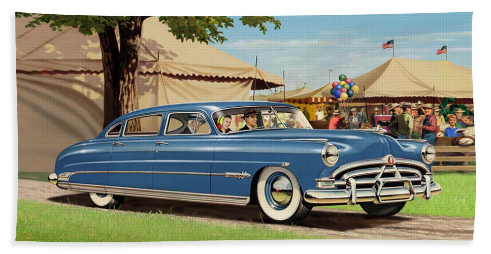 1951 Hand Towel featuring the painting 1951 Hudson Hornet Fair Americana Antique Car Auto Nostalgic Rural Country Scene Landscape Painting by Walt Curlee