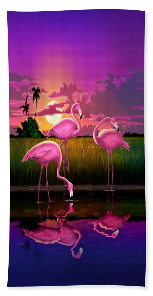 Flamingoes Hand Towel featuring the photograph Flamingoes Flamingos Tropical Sunset Landscape Florida Everglades Large Hot Pink Purple Print by Walt Curlee