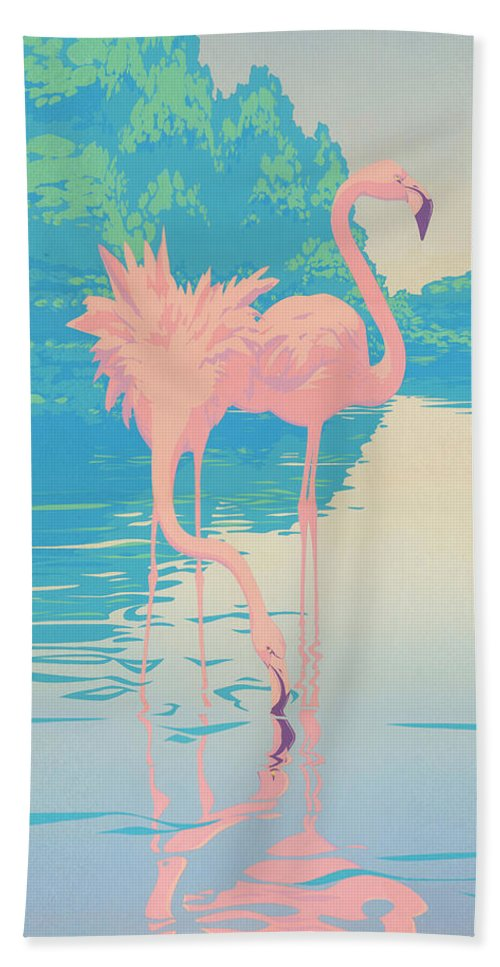 Flamingo Hand Towel featuring the painting abstract Pink Flamingos retro pop art nouveau tropical bird 80s 1980s florida painting print by Walt Curlee