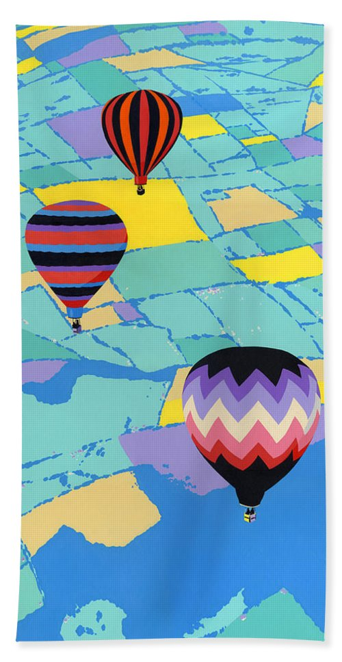 Abstract Hand Towel featuring the painting Abstract Hot Air Balloons - Ballooning - Pop Art Nouveau Retro Landscape - 1980s Decorative Stylized by Walt Curlee