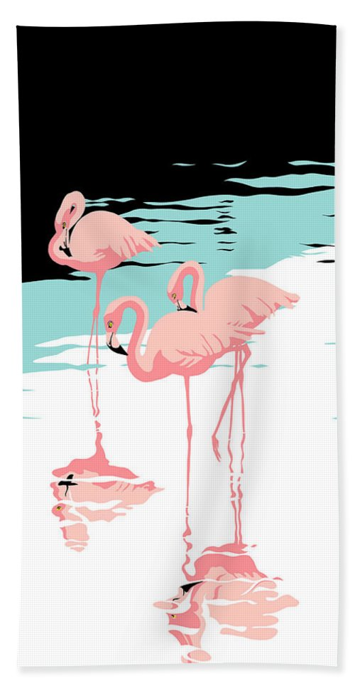 Pink Flamingo Hand Towel featuring the painting Pink Flamingos Tropical 1980s Abstract Pop Art Nouveau Graphic Art Retro Stylized Florida Print by Walt Curlee