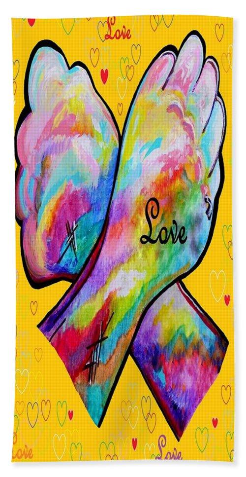 American Sign Language Bath Sheet featuring the painting American Sign Language Love by Eloise Schneider Mote