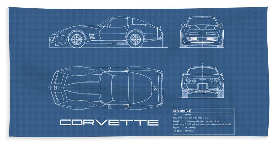 Chevrolet Corvette Hand Towel featuring the photograph Corvette C3 Blueprint by Mark Rogan