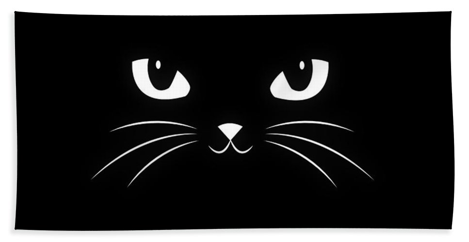 Cat Bath Towel featuring the digital art Cute Black Cat by Philipp Rietz