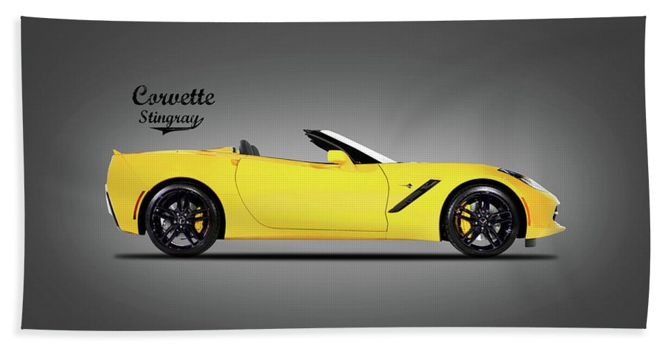 Corvette Stingray Coupe Bath Towel featuring the photograph Corvette In Yellow by Mark Rogan