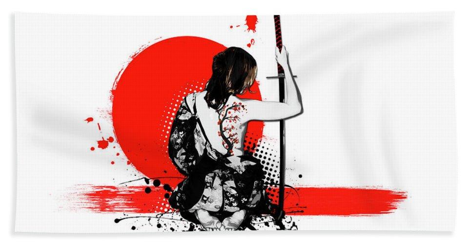 Samurai Bath Sheet featuring the digital art Trash Polka - Female Samurai by Nicklas Gustafsson