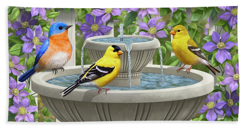 Eastern Bluebird Hand Towel featuring the painting Fountain Festivities - Birds And Birdbath Painting by Crista Forest