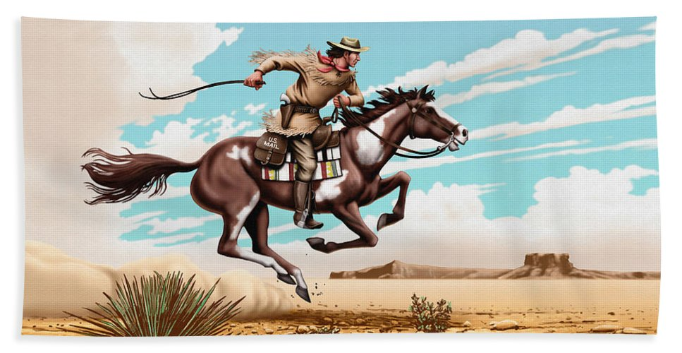 Pony Express Rider Hand Towel featuring the painting Pony Express Rider Historical Americana Painting Desert Scene by Walt Curlee