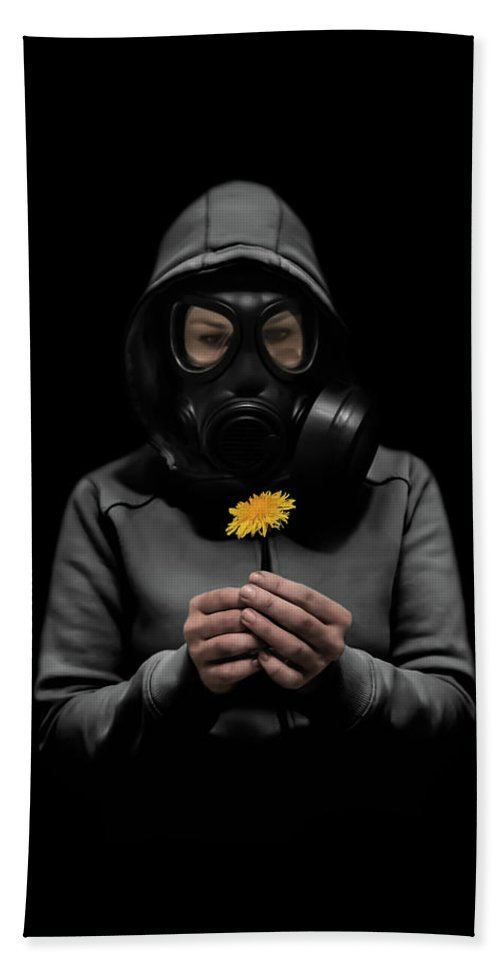 Gasmask Bath Towel featuring the photograph Toxic Hope by Nicklas Gustafsson