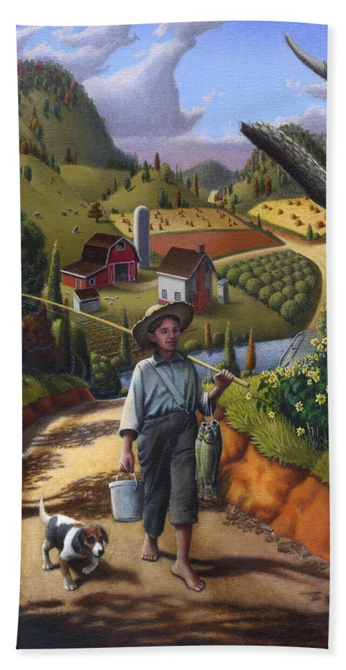 Boy And Dog Bath Sheet featuring the painting Boy And Dog Farm Landscape - Flashback - Childhood Memories - Americana - Painting - Walt Curlee by Walt Curlee