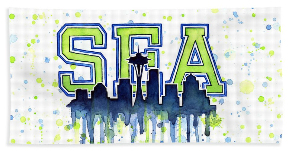 Watercolor Bath Towel featuring the painting Seattle Watercolor 12th Man Art Painting Space Needle Go Seahawks by Olga Shvartsur