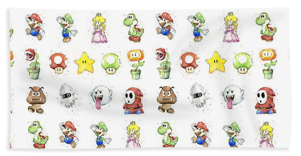 Mario Bath Towel featuring the painting Mario Characters in Watercolor by Olga Shvartsur