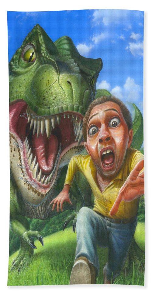 Tyrannosaurus Rex Hand Towel featuring the painting Tyrannosaurus Rex Jurassic Park Dinosaur - T Rex - Paleoart- Fantasy - Extinct Predator by Walt Curlee