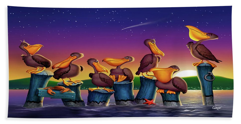 Pelicans On Poles Hand Towel featuring the painting Pelican Sunset Whimsical Cartoon Tropical Birds Seascape Print Blue Orange Purple Yellow by Walt Curlee