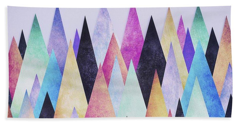 Peak Bath Towel featuring the digital art Colorful Abstract Geometric Triangle Peak Woods by Philipp Rietz
