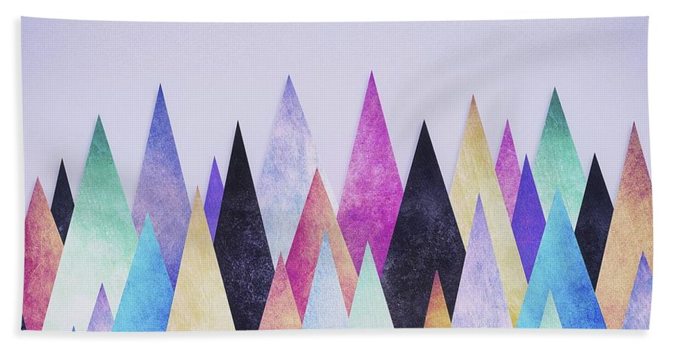 Peak Hand Towel featuring the digital art Colorful Abstract Geometric Triangle Peak Woods by Philipp Rietz