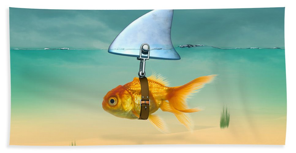 Animals Hand Towel featuring the painting Gold Fish by Mark Ashkenazi