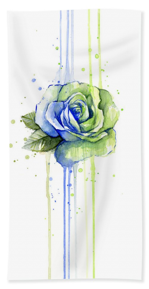 Watercolor Bath Towel featuring the painting Seattle 12th Man Seahawks Watercolor Rose by Olga Shvartsur