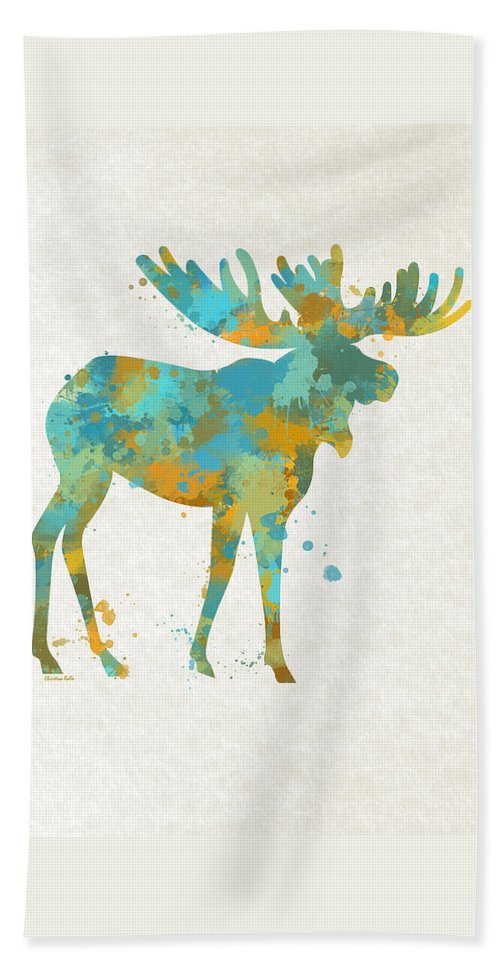 Moose Bath Sheet featuring the mixed media Moose Watercolor Art by Christina Rollo
