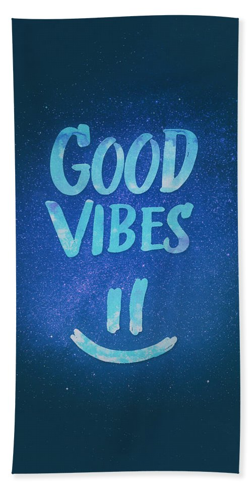 Good Vibes Bath Towel featuring the digital art Good Vibes Funny Smiley Statement Happy Face Blue Stars Edit by Philipp Rietz