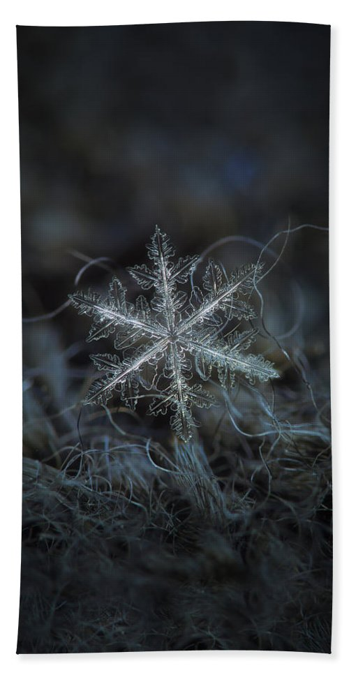 Snowflake Hand Towel featuring the photograph Leaves Of Ice, Panoramic Version by Alexey Kljatov