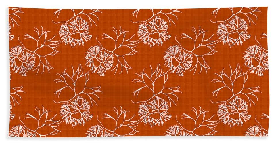 Orange Hand Towel featuring the mixed media Orange Seaweed Marine Art Furcellaria Fastigiata by Christina Rollo