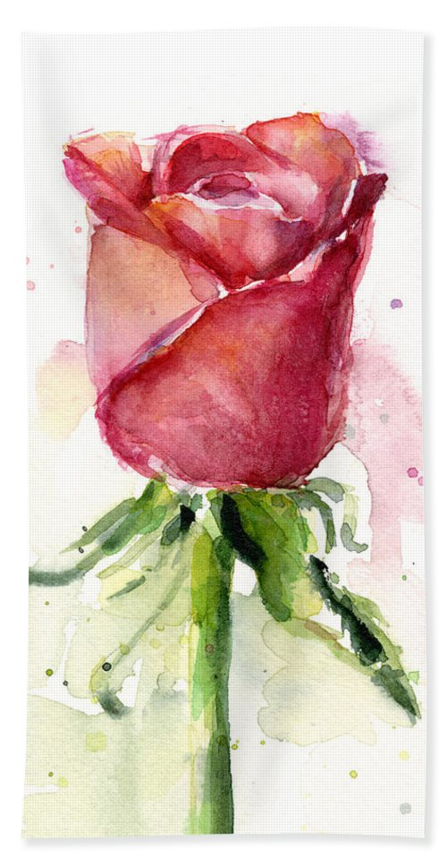 Rose Bath Towel featuring the painting Rose Watercolor by Olga Shvartsur