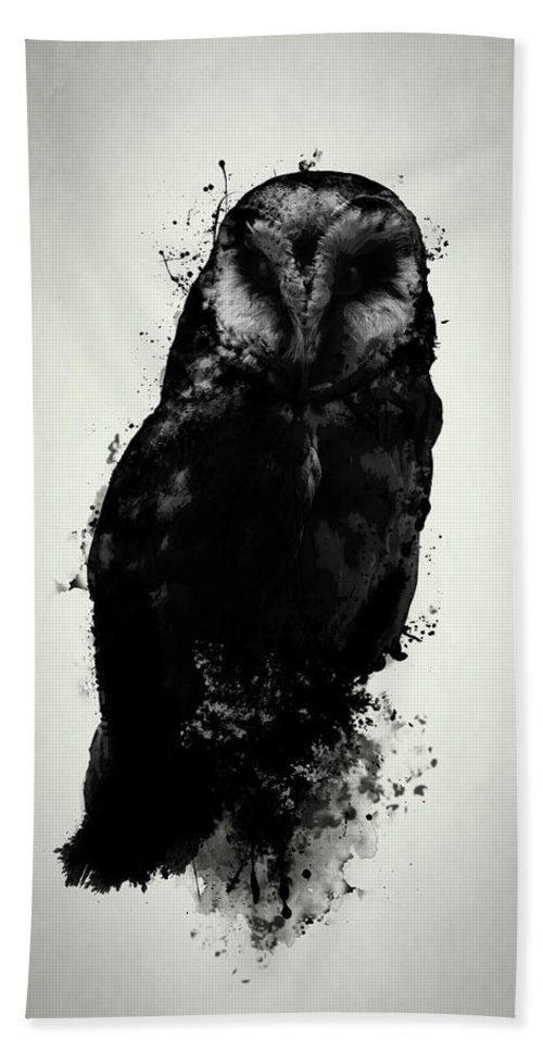 Owl Hand Towel featuring the mixed media The Owl by Nicklas Gustafsson