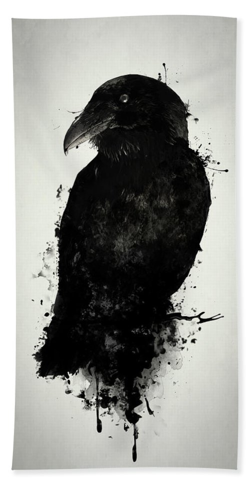 Raven Bath Towel featuring the mixed media The Raven by Nicklas Gustafsson