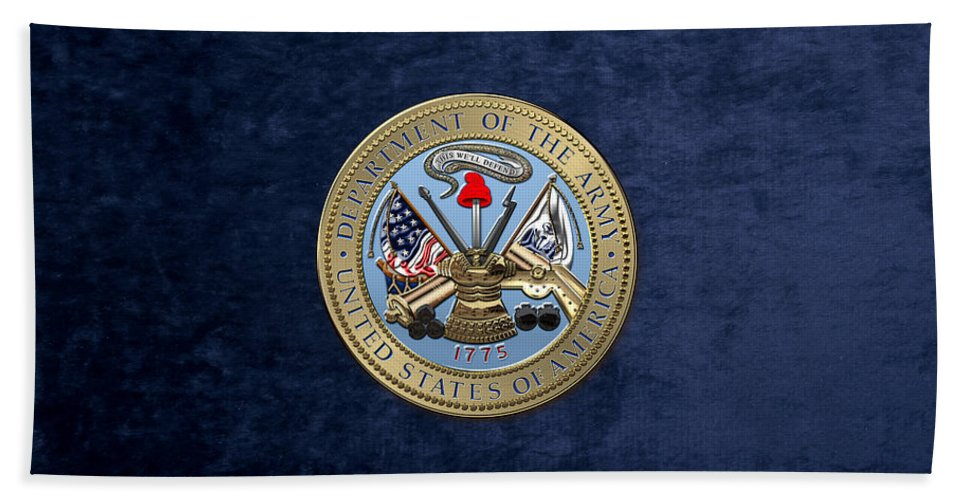 'military Insignia & Heraldry 3d' Collection By Serge Averbukh Hand Towel featuring the digital art U. S. Army Seal Over Blue Velvet by Serge Averbukh