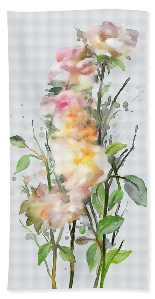 Wild Roses Hand Towel featuring the painting Wild Roses by Ivana Westin