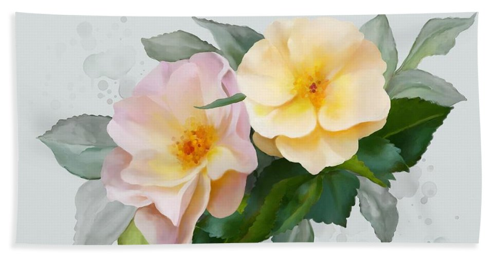 Roses Hand Towel featuring the painting Two Wild Roses by Ivana Westin