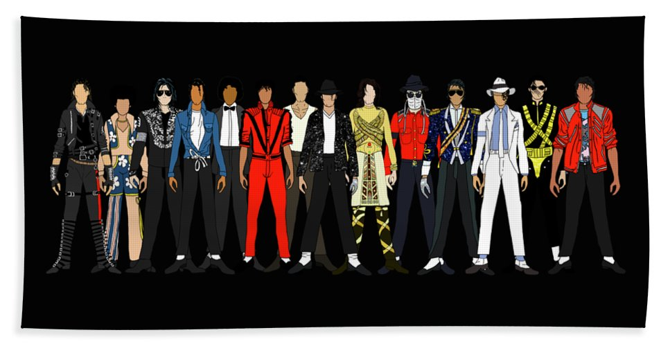 Michael Jackson Bath Towel featuring the digital art Outfits of Michael Jackson by Notsniw Art