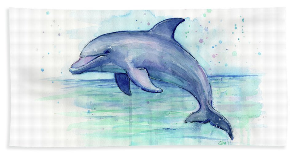 Dolphin Bath Towel featuring the painting Dolphin Watercolor by Olga Shvartsur