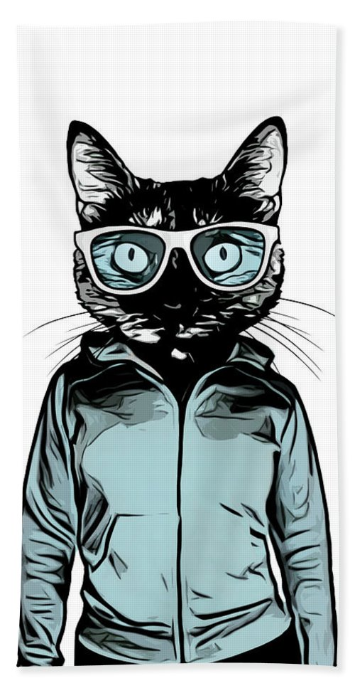 Cat Bath Towel featuring the mixed media Cool Cat by Nicklas Gustafsson