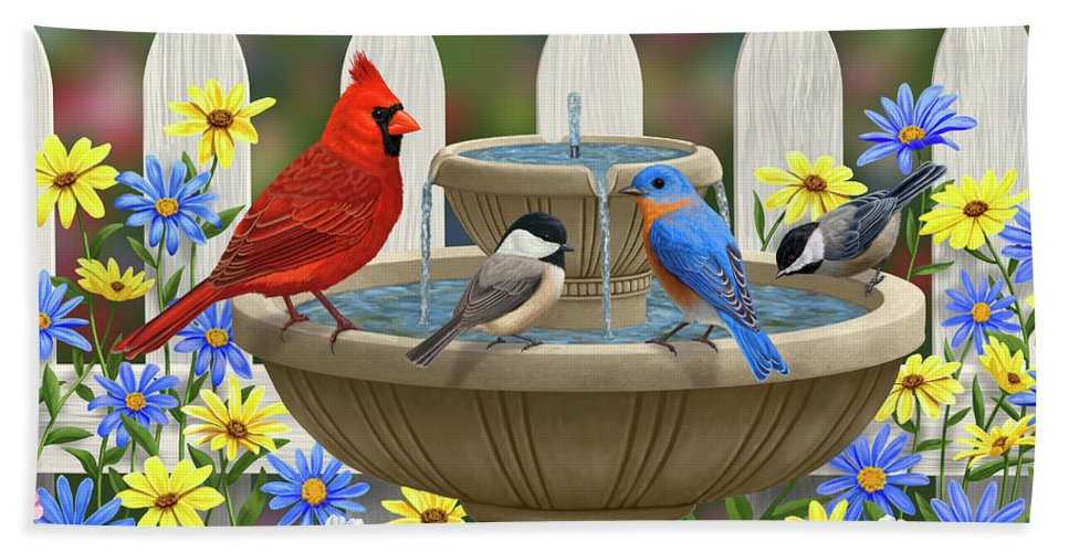 Birds Bath Towel featuring the painting The Colors Of Spring - Bird Fountain In Flower Garden by Crista Forest