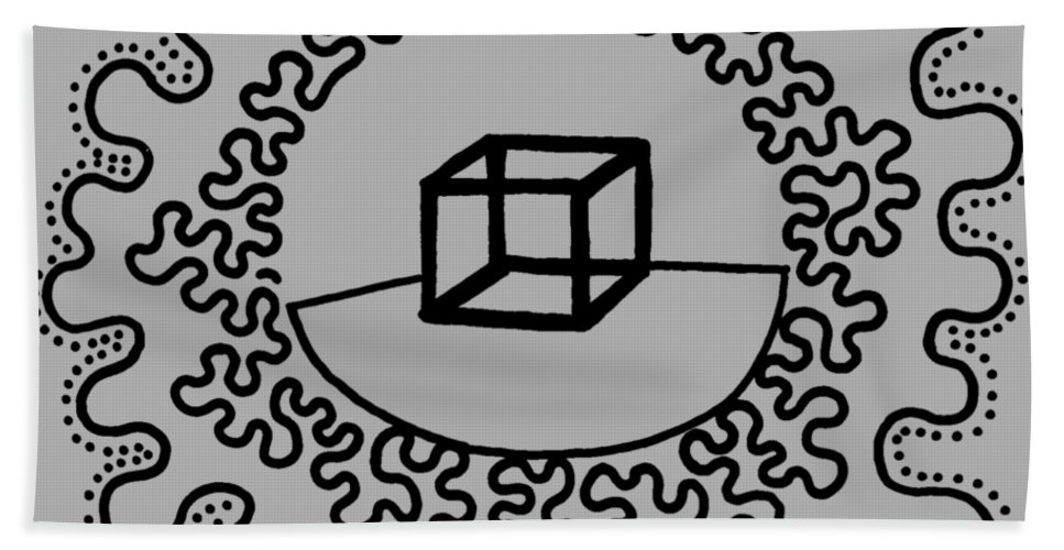 Black And White Bath Sheet featuring the drawing Box Radiating by A Mad Doodler