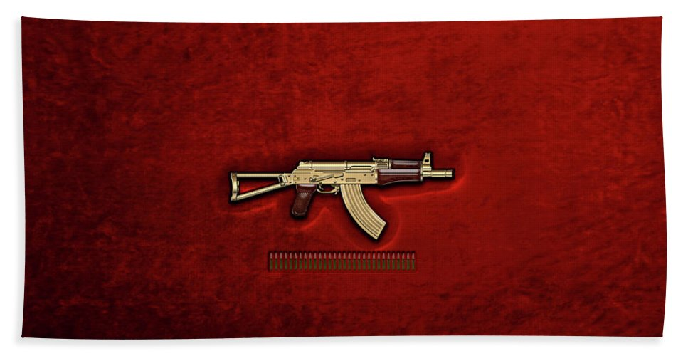 'the Armory' Collection By Serge Averbukh Bath Towel featuring the photograph Gold A K S-74 U Assault Rifle With 5.45x39 Rounds Over Red Velvet  by Serge Averbukh