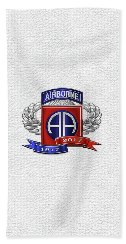 'military Insignia & Heraldry' Collection By Serge Averbukh Bath Towel featuring the digital art 82nd Airborne Division 100th Anniversary Insignia Over White Leather by Serge Averbukh