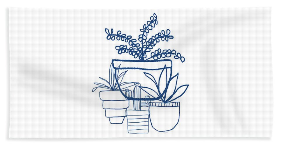 Succulents Bath Towel featuring the mixed media Indigo Potted Succulents- Art By Linda Woods by Linda Woods