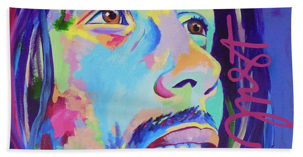 Janice Westfall Bath Sheet featuring the painting Bob Marley by Janice Westfall